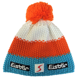 Eisbar Star Pompon MU SP Austrian Winter Ski Hat orange white teal